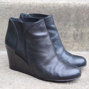 Stuart Weitzman Fjord Black Leather Wedge Bootie